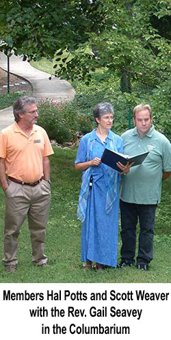 Member Hal Potts, the Rev. Gail Seavey and Youth Coordinator Scott Weaver in the columbarium
